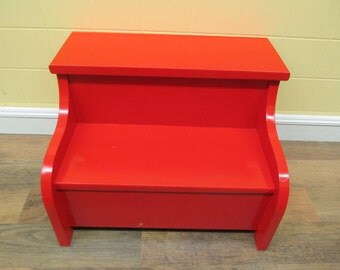 Kids painted  wooden step stool  (apple red)