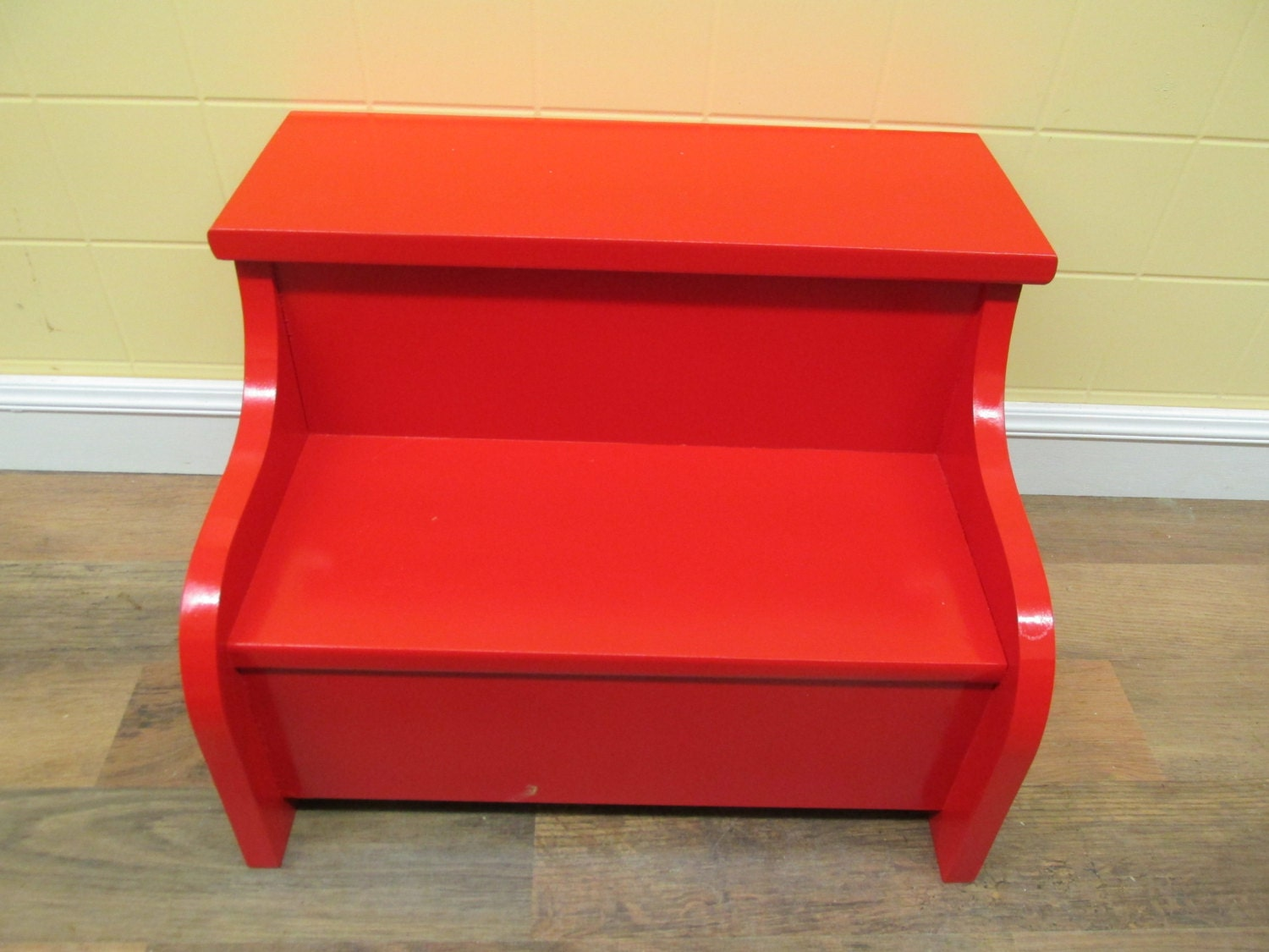 Kids Painted Wooden Step Stool Apple Red