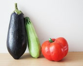 Life size ceramic eggplant, earthenware home decor eggplant, eco paint and polish, dazzling, life like eggplant, rustic decor eggplant