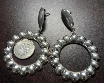 Huge Sterling Silver Hoop Earrings