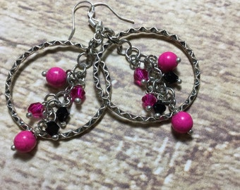 Hot Pink Hoop Earrings