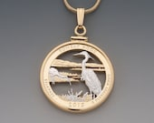 Blue Heron Pendant , United States National Park Quarter Hand Cut, Delaware issue, ( # 2052 )