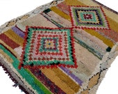 """73""""X53"""" inch Large vintage Moroccan rug woven by hand from scraps of fabric / boucherouite / boucherouette"""