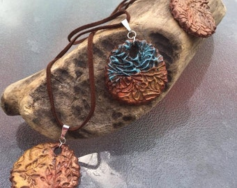 Pendant on leather rope