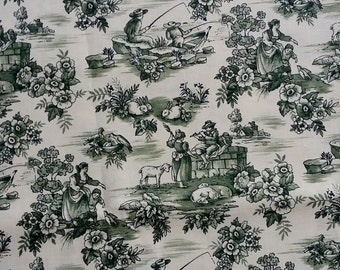 Green Floral Toile Fabric By The Yard