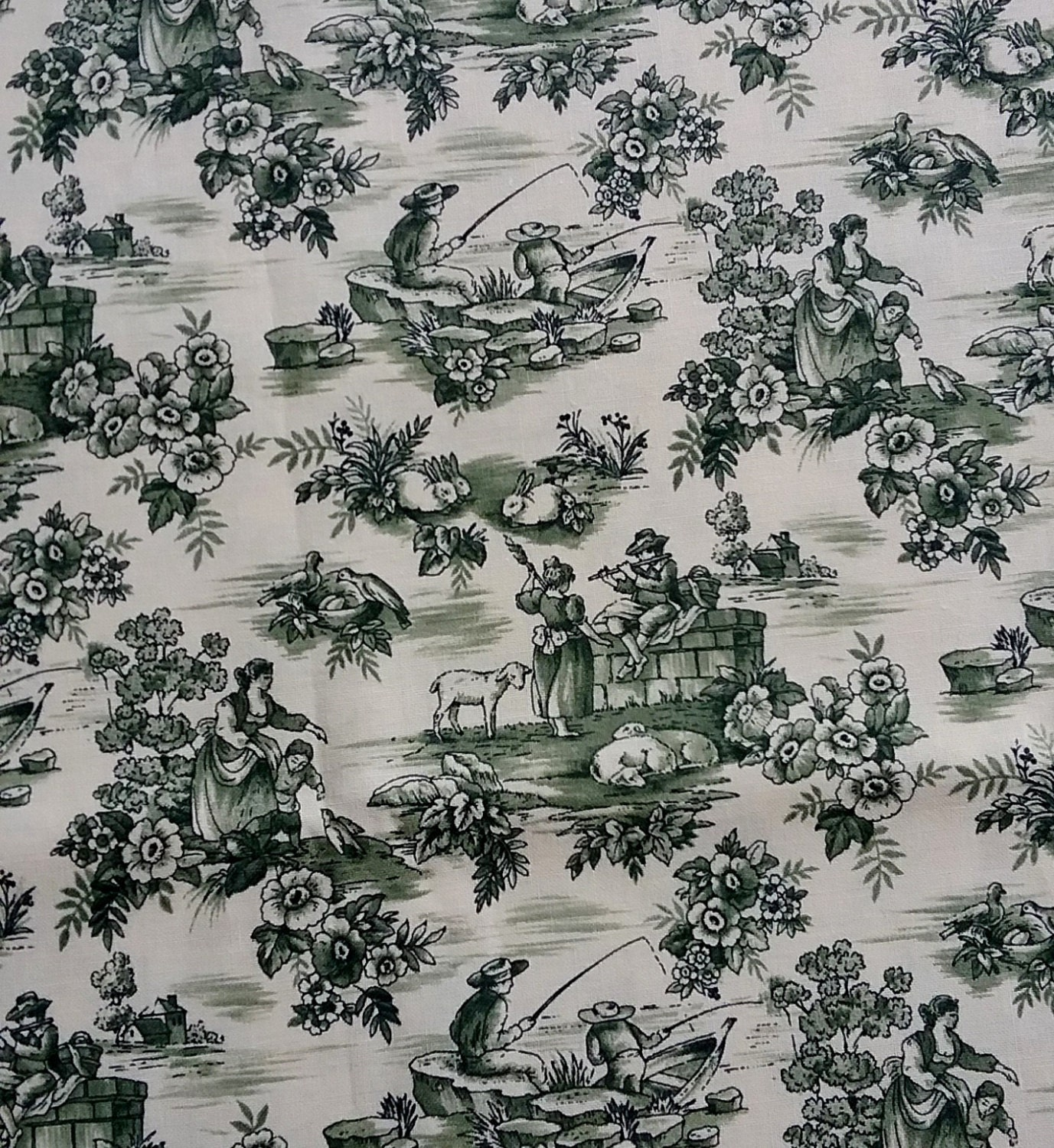 green floral toile fabric by the yard. Black Bedroom Furniture Sets. Home Design Ideas