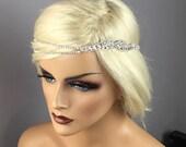 Simple Art Deco Bridal Rhinestone Headband, Head Chain, Boho-Halo, Simple Head Jewelry, Bridal Headband, Silver Bridal Headpiece ~ Grace ~