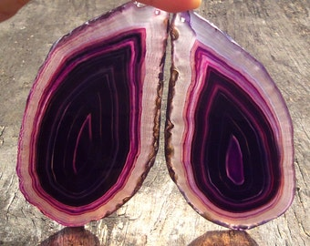 Pair Agate Slice  Pendant ,Purple, Semiprecious stone, Jewelry making Supplies ,Q Stone,120x62mm