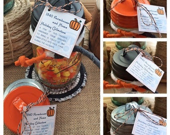 Halloween Mason Jar Candy Jar Set with Handmade Fabric Trivet
