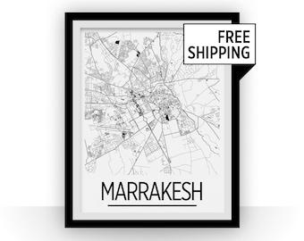 Marrakesh Map Poster - moroco Map Print - Art Deco Series
