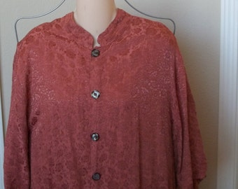 Vintage 1970s blouse with mandarin collar