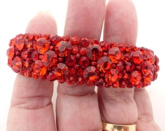 Vintage Brilliant Red Rhinestone and Metal Stretch Bracelet Holiday Ready!