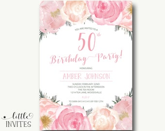 50th birthday invitation | Etsy