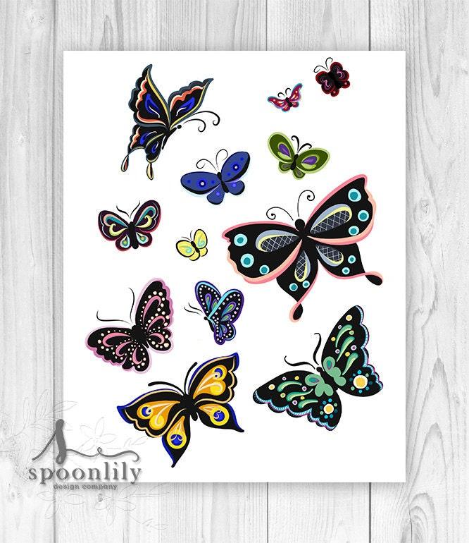 Nursery Wall Decor Butterflies : Butterfly wall art nursery decor