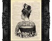 Tattooed Victorian Lady TATTOO PRINT Tattoo Art Print 491