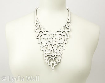 Laser cut leather necklace in White