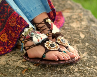 BOHO Tribal fairy shoes beaded Indian island festival flat layered sandals shoes flip flops tall bohemian leather suede gladiator sandals