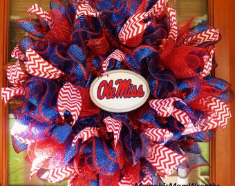 Custom College Football Deco Mesh Wreath - Ole Miss Wreath - Football Wreath