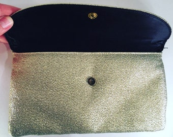 1960s Gold and Silver Lurex Envelope Clutch -- Simple Glamour, Original Mirror Enclosed