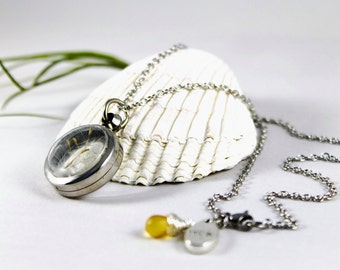 Dandelion Necklace - Flower Jewelry/10 Real Seeds/Reversible/Make a Wish/Clear Necklace/Nature Lover Gift/Handmade/Humboldt
