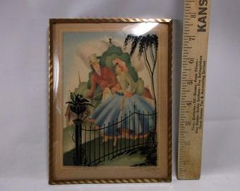 Convex Bubble Glass Retro Silhouette picture Vintage Romantic silhouette  picture with metal frames.epsteam