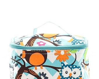 Monogrammed Owl Make Up Bag Aqua Chevron Personalized Gift