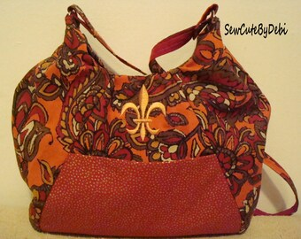 Fleur de Lis  Handbag / Purse. Beautiful, Fall colored, over the shoulder handbag. Perfect for New Orleans.