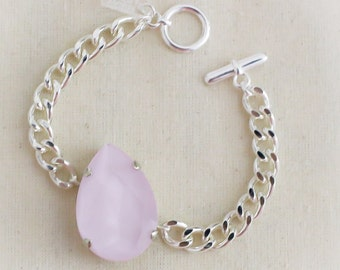 Baby Pink Crystal Chain - silver hardware