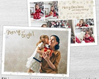 Christmas Photo Card, Photoshop Template, Holiday Photo Postcard, Christmas Cards, Photo Christmas Cards, Photographer, Gold, Glitter