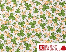 St Patrick's Fabric, Shamrock Fabric, Shamrocks by Angela Anderson for Quilting Treasures, Quilt or Craft Fabric, Fabric by the Yard