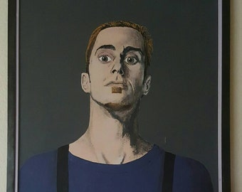 Cool 1993 vintage portrait. Signed oil painting.