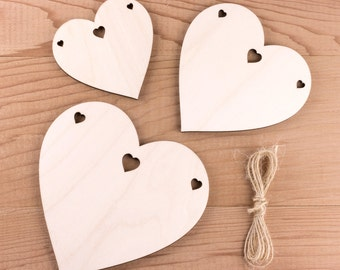 Wooden Heart Bunting, Wooden Garland with Heart Holes.