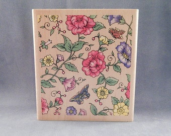 Background Rubber Stamp - Flowers and Butterflies - Large Stamp - Craft Supplies - Handmade Cards