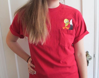 Vintage Red Pocket Tee with Looney Tunes Embroidered Tweety Bird and Sylvester Popping out of Pocket- Warner Bros. Embroidered Cartoon Tee