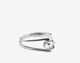 Herkimer diamond drop sterling silver ring