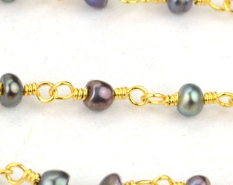 Black Pearl Beads Rosary, 2.5-3mm 24k Gold Plated Wire Wrapped Rosary Chain foot GemMartUSA (GPPB-30001)
