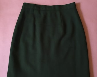forest green wool mini skirt / 1980s mini skirt