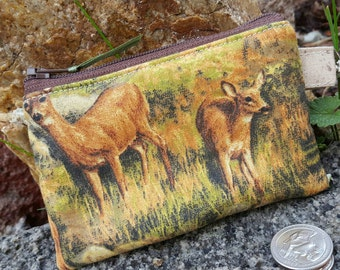Deer Coin Purse, Wildlife  Zipper Wallet