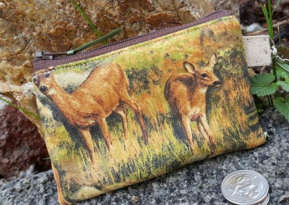 Deer Coin Purse, Wildlife  Zipper Wallet