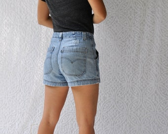 80s/90s Levis Jean Shorts | Retro High Waist Jean Shorts. Distressed Stone Washed Denim Shorts. Hemmed High Waist Levis Jean Shorts | medium