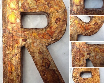 Faux Metal Wall Letter, Metal Letter, Custom wall name decor, Wall Letter, Inials, You choose color