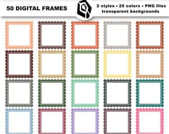 Square scalloped frames - 50 digital frames, scalloped digital labels, digital square frames, clip art frame, scalloped square clipart