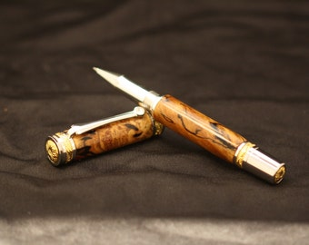 Texas Spalted Sweetgum Majestic Rollerball Pen w/Gold and Titanium Accents and Swarovski Crystal