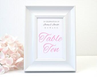 PRINTED Elegant  Wedding Table Number, Monogram, Script, Calligraphy, Modern, Classic, Simple, Elegant, Pink, Calligraphy, JENNIFER Design