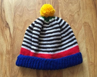 Made to order Colour block stripe beanie in primary colours