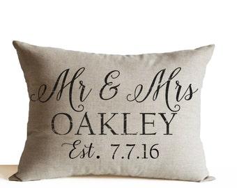 Personalized Mr Mrs Pillow, Wedding Decor Pillow, Anniversary Pillow, Gift, Lumbar Pillow, His Her Pillow, Custom Name Date Pillow Valentine