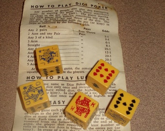 Bakelite Poker Dice Vintage with game instructions  for Dice Poker