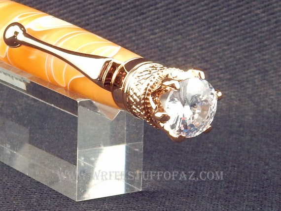 Butterscotch Yellow Twist Pen, Adorned with Swarovski Crystal