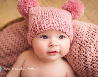 Pink baby girl hat 3 6 9 months pompom pink rose quartz pom pom hat - baby girl hat sitter photo prop hand knitted baby shower gift wool mix