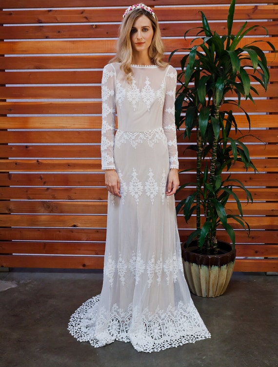 Lisa Lace Bohemian Wedding Dress Cotton Lace with OPEN BACK